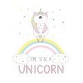 Cute unicorn owl on the rainbow