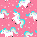 Cute unicorn on a pink backgroun. vector pattern