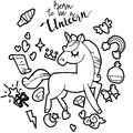 Cute unicorn and pony collection with magic items, rainbow, fairy wings, crystals, clouds, potion. Hand drawn line style.