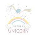 Cute unicorn on the rainbow Royalty Free Stock Photo