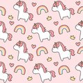 Cute unicorn and rainbow Seamless Pattern Background