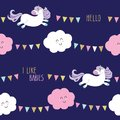 Cute unicorn seamless pattern background with cartoon kawaii clouds and garlands. For kids clothes, pajamas, baby shower