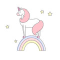 Cute unicorn stands on a rainbow isolated vector illustration