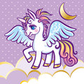 stock image of  Cute unicorn, stars, clouds and moon greeting card, vector illus