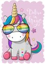 Cute unicorn with sun glasses Royalty Free Stock Photo