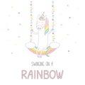 Cute unicorn swinging on a rainbow Royalty Free Stock Photo