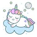 Cute Unicorn vector pony cartoon with moon on cloud, magic sleeping time for sweet dream