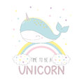 Cute unicorn whale on the rainbow
