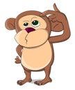 Cute unusual vector thinking monkey Royalty Free Stock Photo