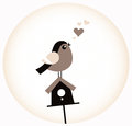 Cute Valentine Bird with a Birdhouse ( retro brown ) Royalty Free Stock Images