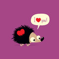 Cute Valentine`s Day card with cartoon hedgehog saying I love you in speech bubble