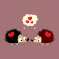 Cute Valentine`s Day card with two cartoon hedgehogs falling in love with each other