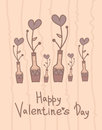 Cute vase with hearts flowers. Happy Valentines Day design. Holiday card.