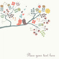 Cute vector background with birds sitting at the branch Stock Photos