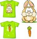 Cute vector bunny printed on shirt