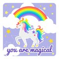 Cute vector card with unicorn and rainbow. You are magical