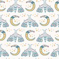 Cute vector cartoon lunar moth with happy smiling face Royalty Free Stock Photo