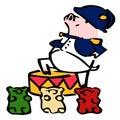 Cute vector cartoon Napoleon pig with gummy bears