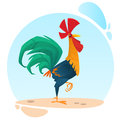 Cute vector cartoon rooster mascot. Illustration of a colorful rooster standing on one leg.
