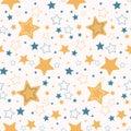 Cute vector cartoon starry sky Hand drawn seamless