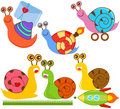 Cute vector collection of Snails Royalty Free Stock Image