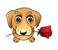 Cute vector dog in love with rose