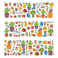 Cute vector garden with birds, cactus, plants, fruits, berries, gardening tools, rubberboots Garden market pattern in Royalty Free Stock Photo