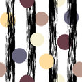 Cute vector geometric seamless pattern . Polka dots and stripes. Brush strokes. Hand drawn grunge texture. Abstract