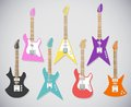 Cute vector guitars illustrations set. Electric  guitars Royalty Free Stock Photo