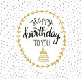 Cute vector happy birthday to you card with cake and wreath. Vector illustration.