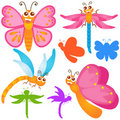 Cute vector Icons : Butterfly, dragonfly Stock Image