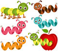 Cute vector Icons : Worms & Apple Stock Images