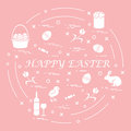 Cute vector illustration with different symbols for Easter arran