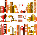 Cute vector illustration of an evening city street Stock Photos
