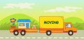 Cute vector illustration moving truck carries dog house big flower eps Stock Photo