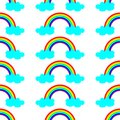 Cute vector illustration with rainbow and blue clouds. Seamless pattern design for children