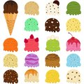 Cute Vector illustration set of ice cream scoop, many colorful f Royalty Free Stock Photo
