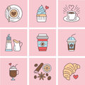 Cute vector line icons of coffee. Elements espresso cup, milk, sugar, croissant, hot drinks, cupcake, latte, cinnamon