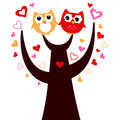 Cute vector love owls on tree sweet owl couple in cartoon illustration Stock Photos