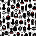 Cute vector monsters seamless pattern for Halloween, scrapbooking, print, wallpapaer Royalty Free Stock Photo
