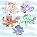 Cute vector ocean set of octopuses.