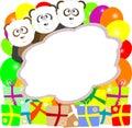 Cute vector panda with text box and gift box Stock Photos