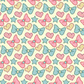 Cute vector seamless pattern with bows, hearts and stars. Retro girlish hand drawn background.