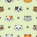 Cute vector seamless pattern with cats