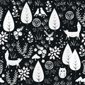 Cute vector seamless pattern with forest plants, birds, and foxes silhouettes. White and black background