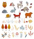 Cute vector set with doodle forest plants and animals.