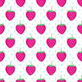 Cute vector strawberry pattern. Seamless background with pink strawberries. Royalty Free Stock Photo