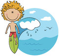 Cute vector surfer boy on wave Royalty Free Stock Photo