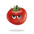 Tomato Cute Anime Humanized Smiling Cartoon Vegetable Food Character Emoji Vector Illustration