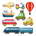 Cute vector transportation illustration cartoon set on white background Stock Image